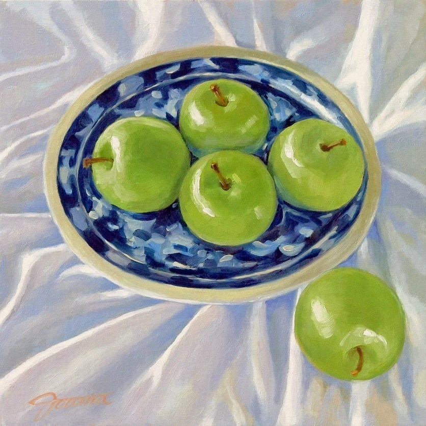 """Green Apples on the White Cloth"" original fine art by Joanna Bingham"
