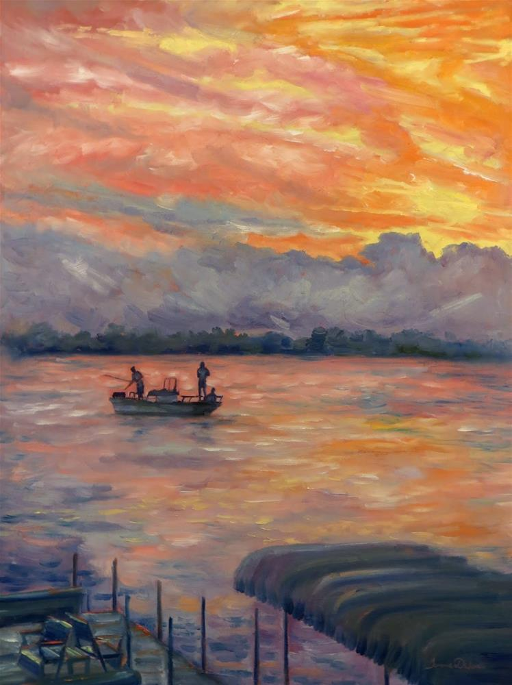"""Sunset Fishing"" original fine art by Tammie Dickerson"