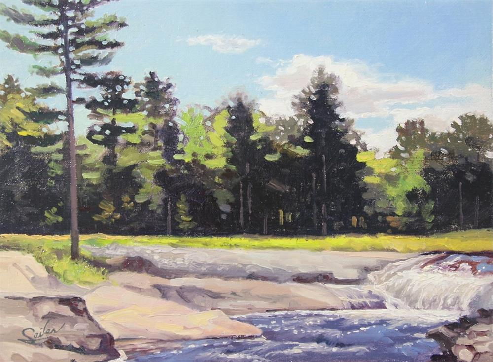 """Dead River Falls Marquette"" original fine art by Larry Seiler"