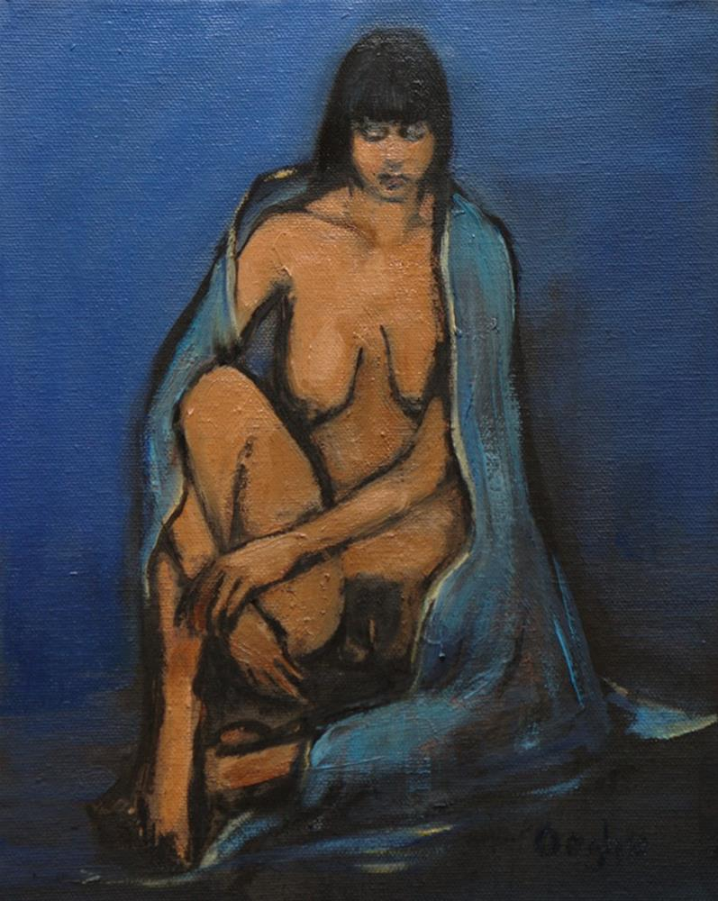 """Woman with Blue Shawl"" original fine art by Angela Ooghe"