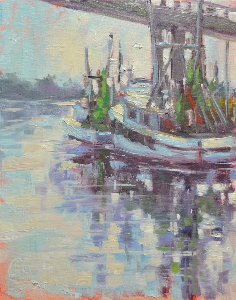 """boats at daybreak"" original fine art by Dottie  T  Leatherwood"