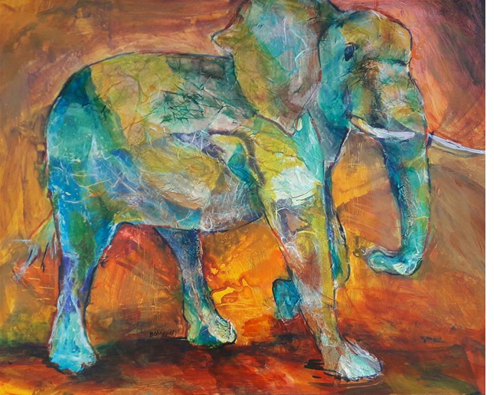 """Spirit Elephant"" original fine art by Becky Chappell"