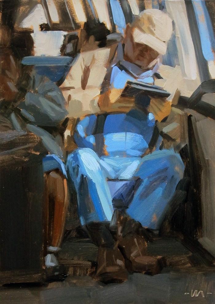 """Reading on the Train"" original fine art by Carol Marine"