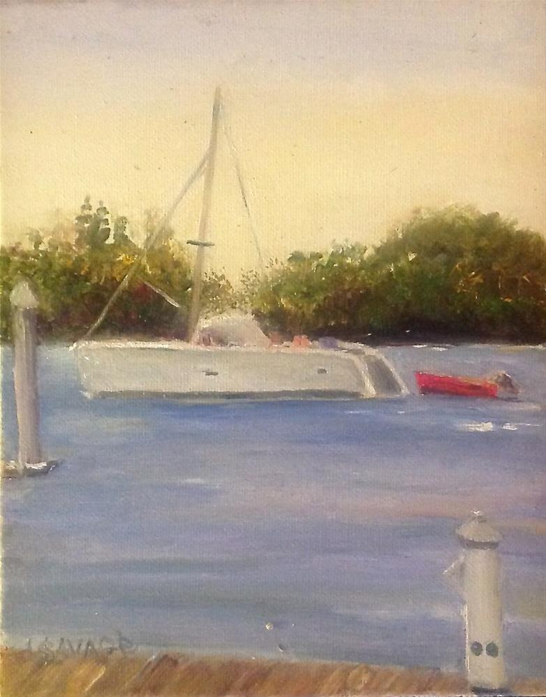 """Towing the Red Skiff"" original fine art by Judy Usavage"