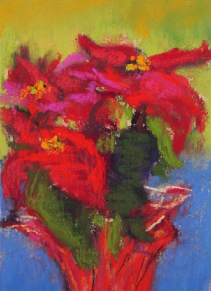 """Christmas Poinsettia"" original fine art by Sharon Lewis"