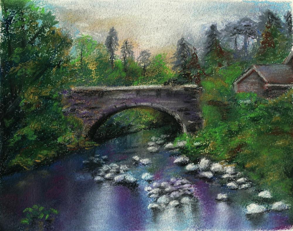 """The Stone Bridge"" original fine art by Laura B."