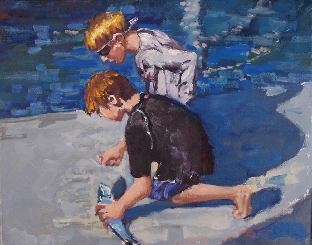 """Boys Fishing"" original fine art by Rick Nilson"