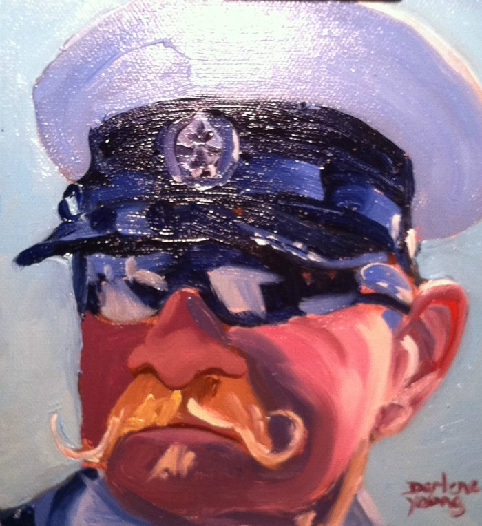 """The Moustache, oil on canvas board, 6x6in"" original fine art by Darlene Young"