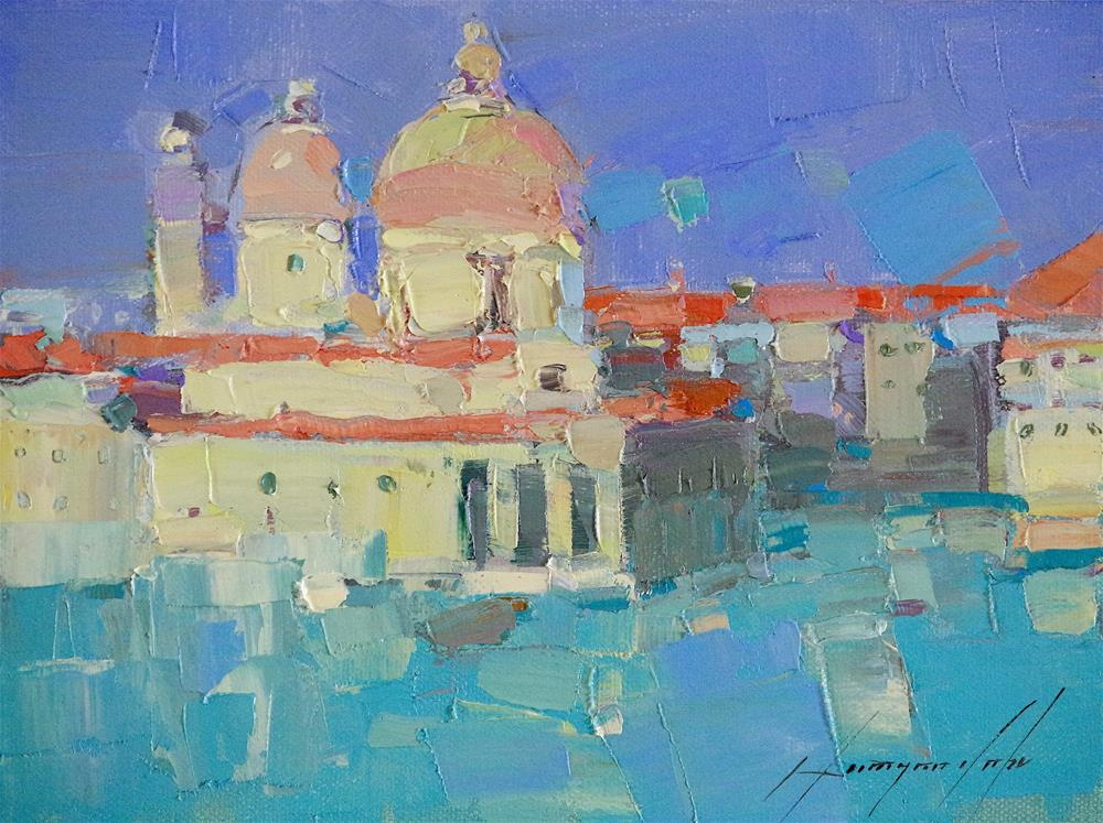 """Venice, Cityscape oil painting, palette knife art, signed"" original fine art by V Yeremyan"