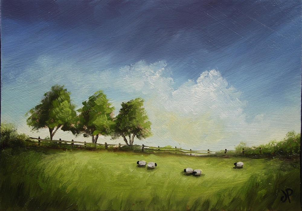 """Three trees, five sheep"" original fine art by Jane Palmer"