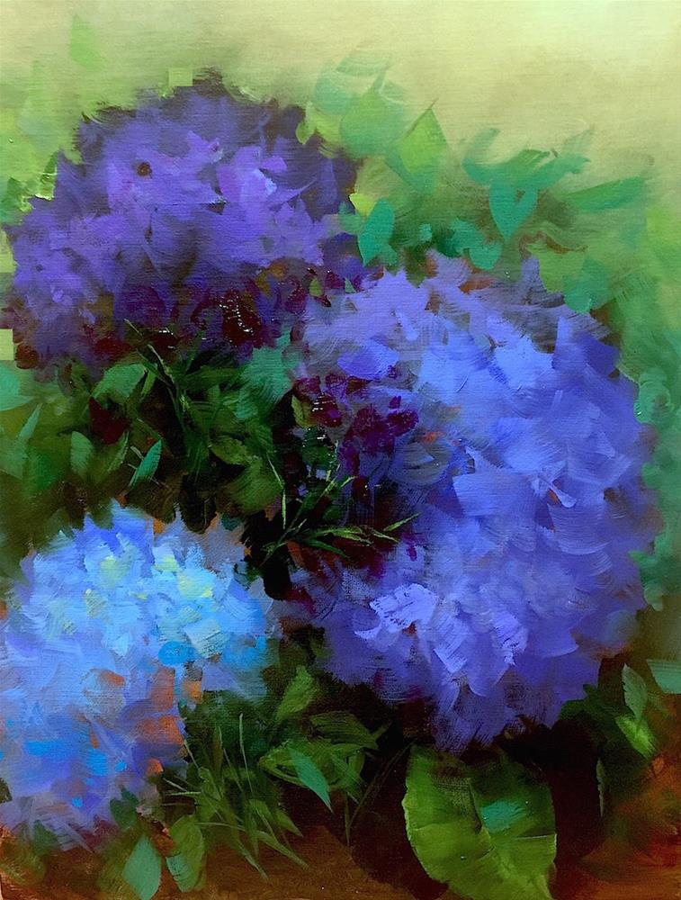 """Spring's Child Blue Hydrangeas - Nancy Medina Art Videos and Classes"" original fine art by Nancy Medina"