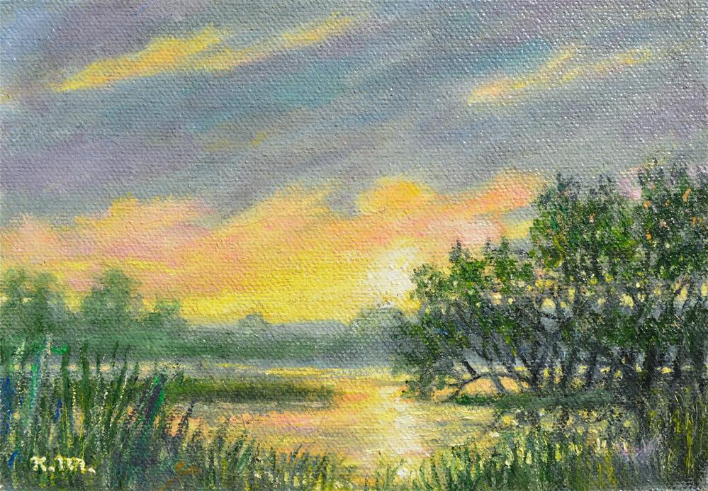 """Marsh Sunrise Study (C) 2014 by K. McDermott"" original fine art by Kathleen McDermott"