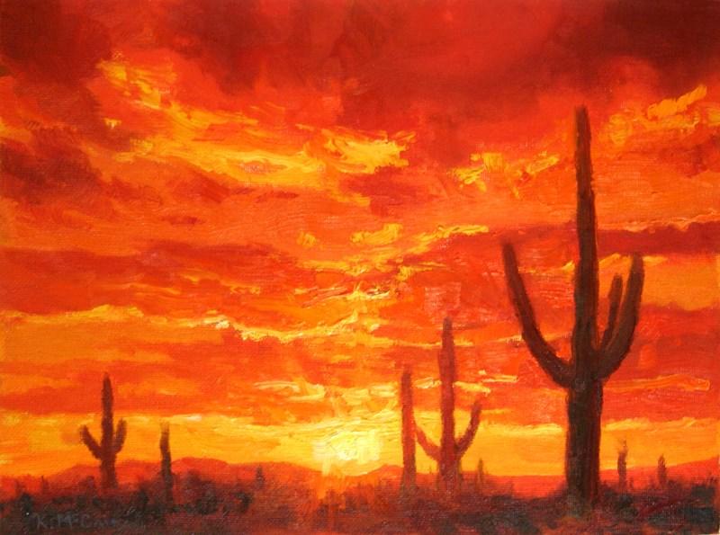 """Saguaro Sunset"" original fine art by K.R. McCain"