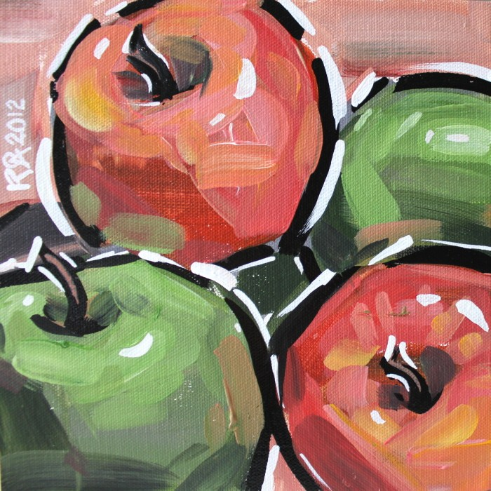 """Apple abstraction 1"" original fine art by Roger Akesson"