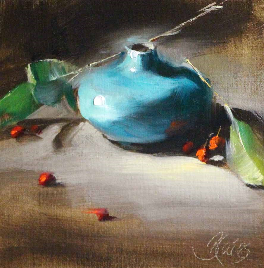 """Blue Vase and Berries"" original fine art by Pamela Blaies"