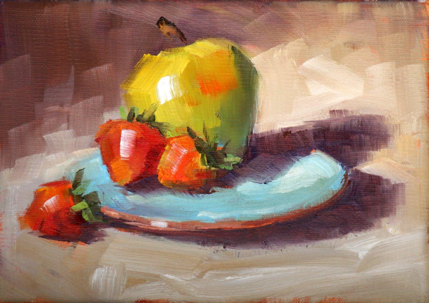 """apple and strawberries"" original fine art by Carol Carmichael"