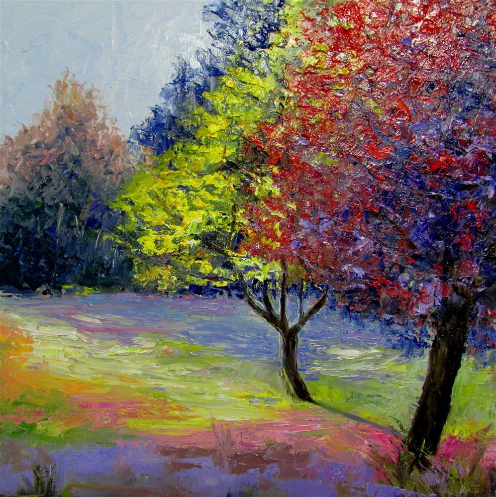 """12 x 12 inch oil Country colors #2"" original fine art by Linda Yurgensen"