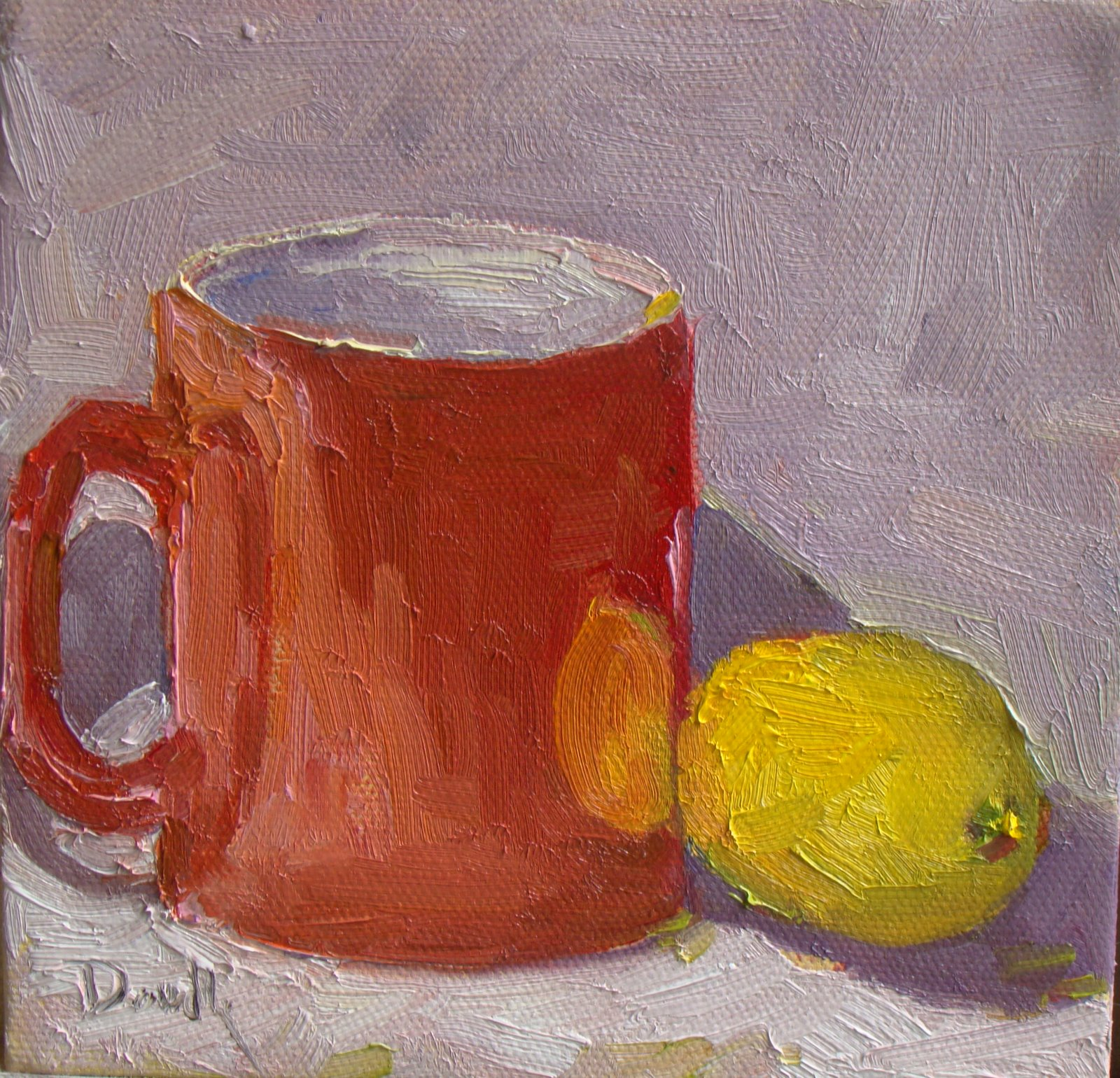 """My Red Tea Mug"" original fine art by Debbie Dowdle"