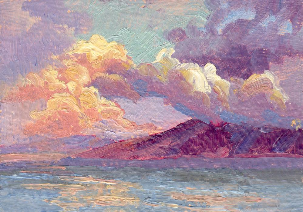 """SUNRISE CLOUD PILES"" original fine art by Karen E Lewis"
