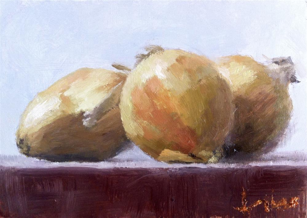 """Three Onions"" original fine art by Richard Jones"