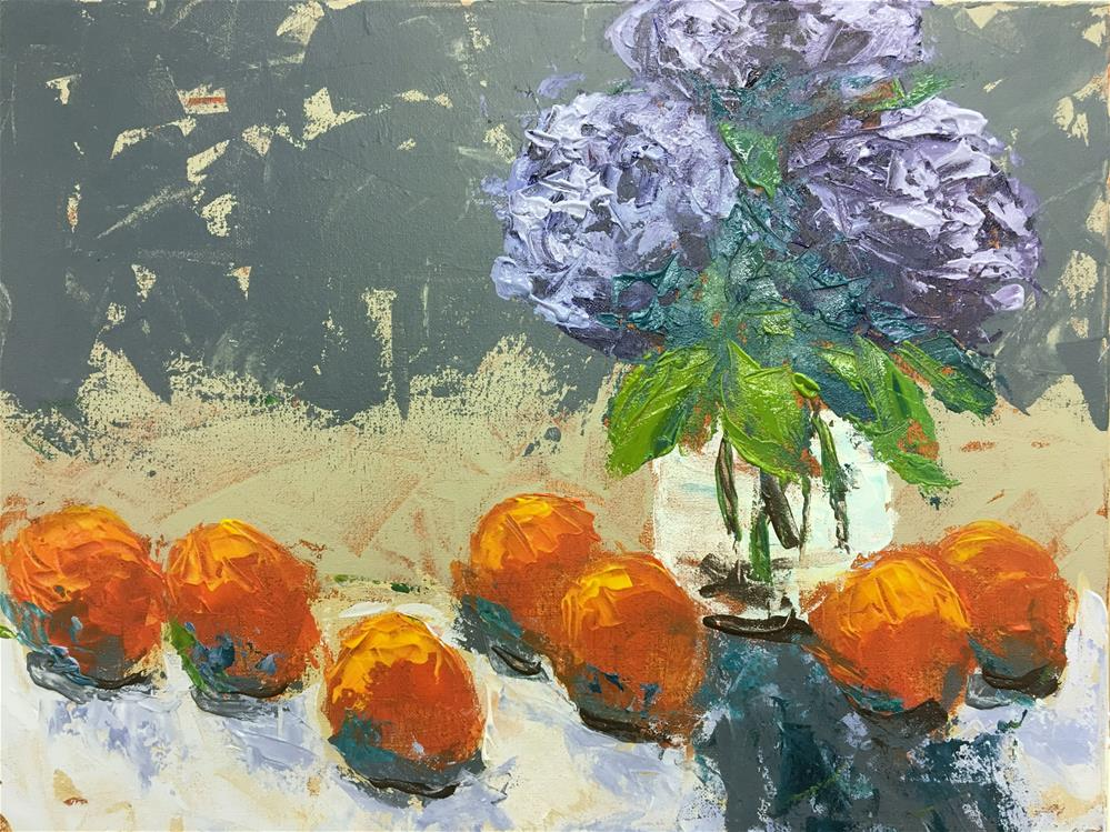 """Hydrangea and Clementines Class Demo"" original fine art by Susan Elizabeth Jones"