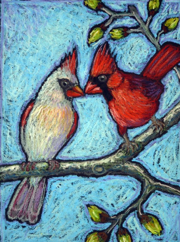 """Cardinal Sweethearts"" original fine art by Ande Hall"