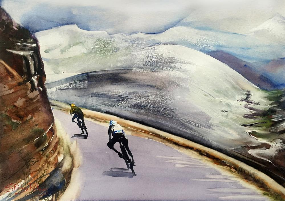 """Le Tour in Snow Alps"" original fine art by Shirley Peters"