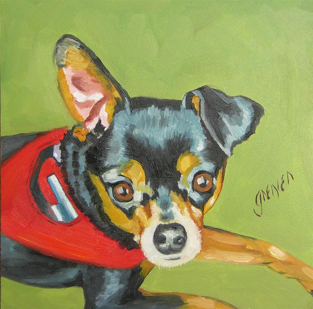 """Min Pin Gretal - Little Georgia Fan"" original fine art by jean grenier"