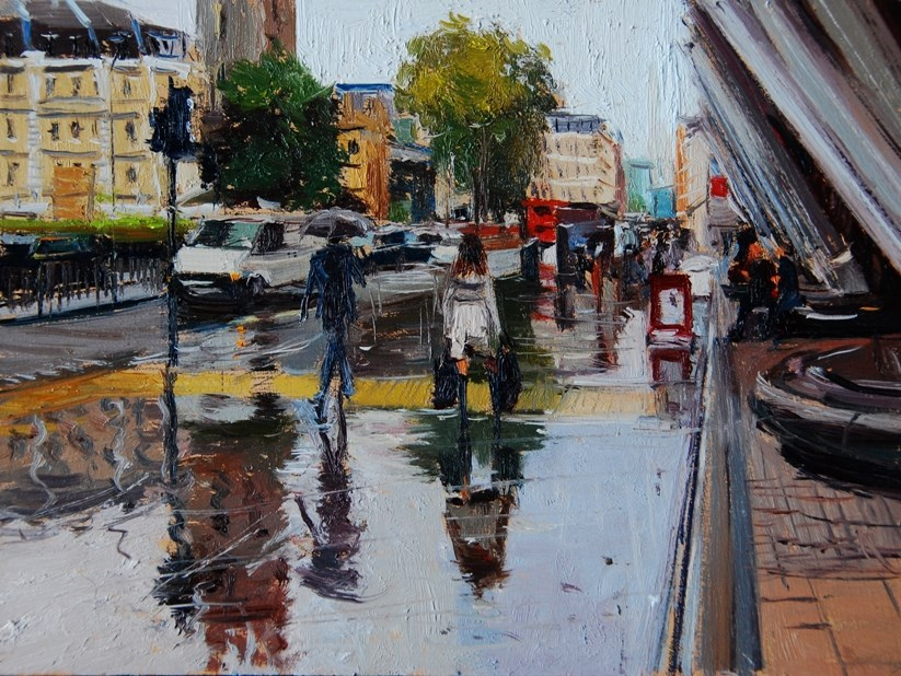 """Rainy Day, London Streets"" original fine art by Adebanji Alade"