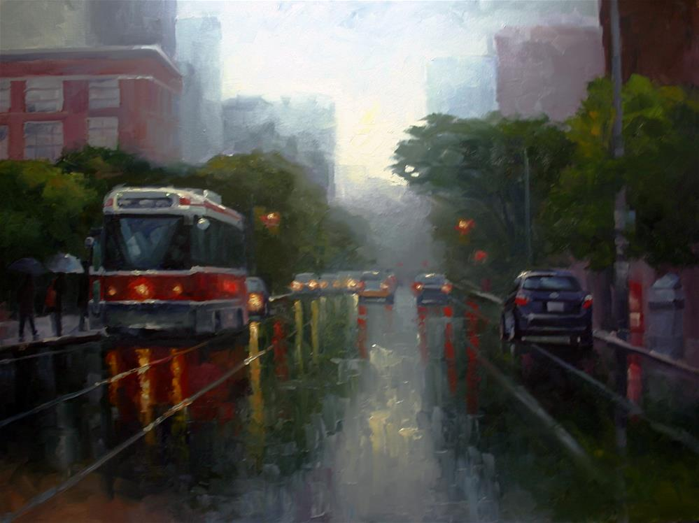 """MIsty Rain, College and Spadina"" original fine art by Catherine Jeffrey"
