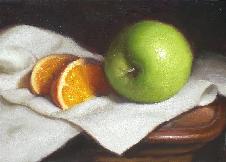 """Green Apple and Orange"" original fine art by Debra Becks Cooper"