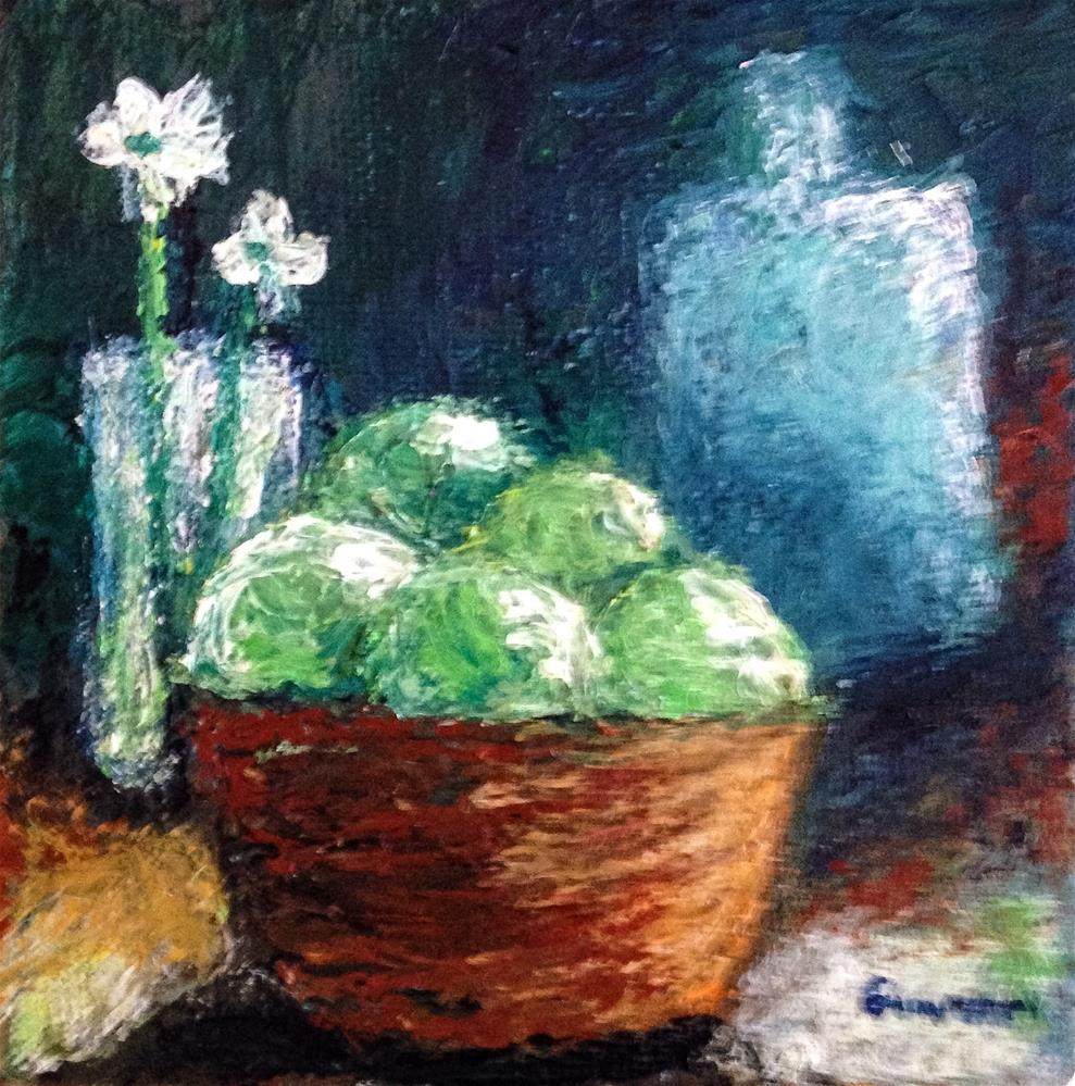 """Still life (green apples)"" original fine art by Giovanni Antunez"