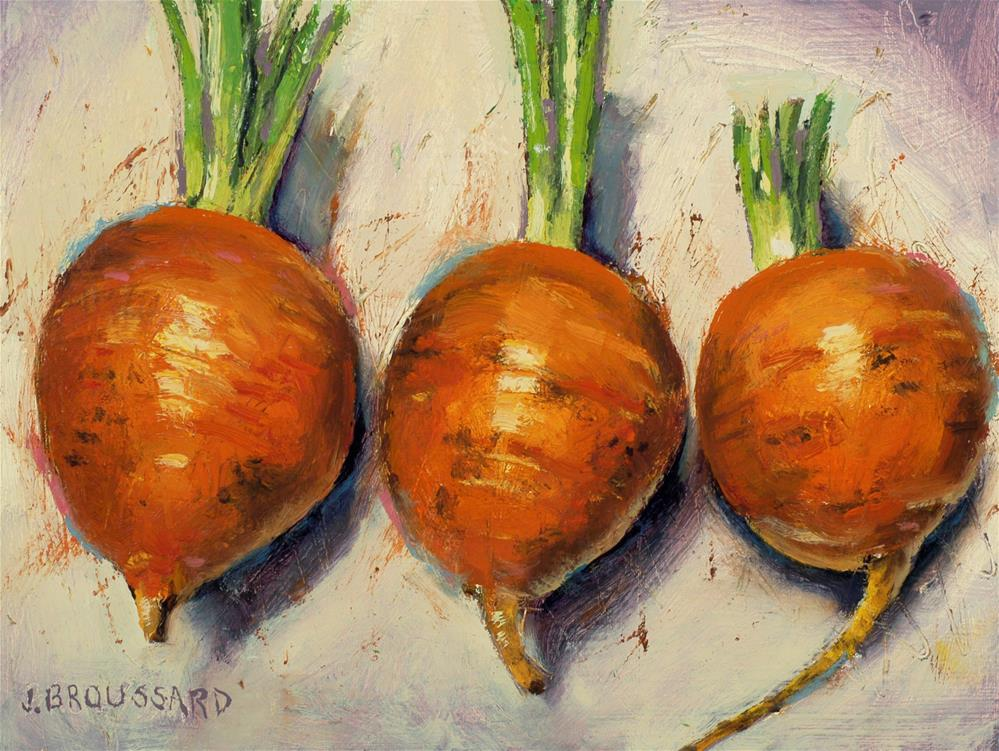 """""""Snipped, Globe carrots"""" original fine art by Janet Broussard"""