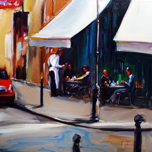 """Straßencafe"" original fine art by Jurij Frey"