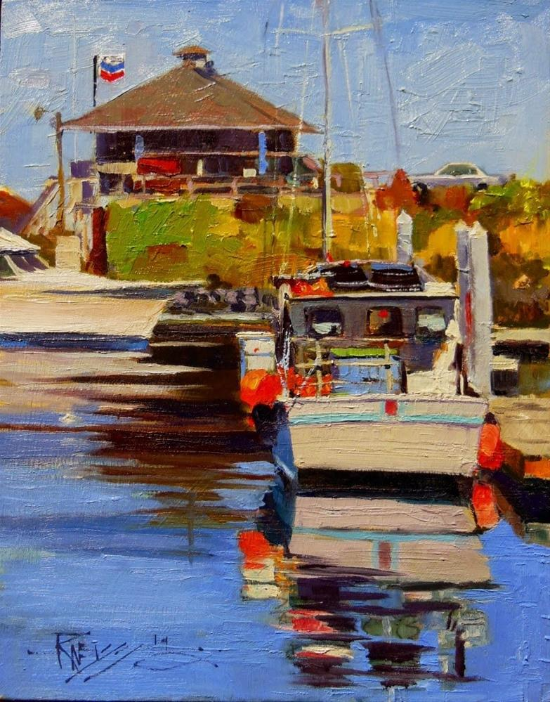 """The Fuel Dock plein air marinescape by Robin Weiss"" original fine art by Robin Weiss"