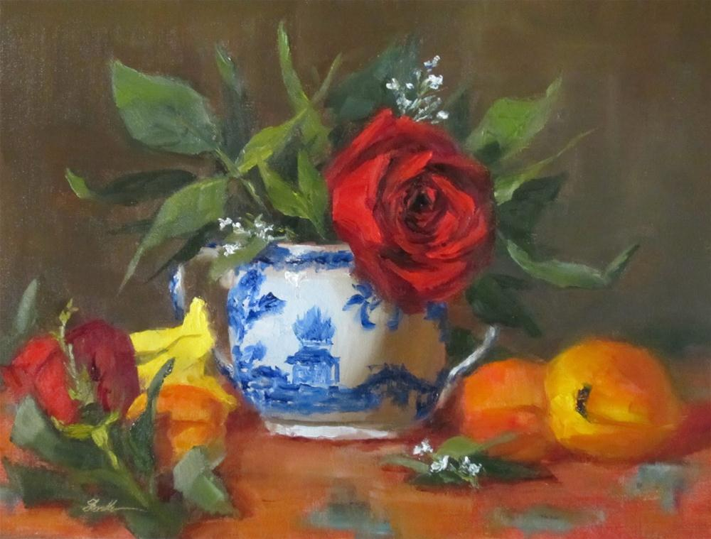 """Roses & Sugar Bowl"" original fine art by Pat Fiorello"