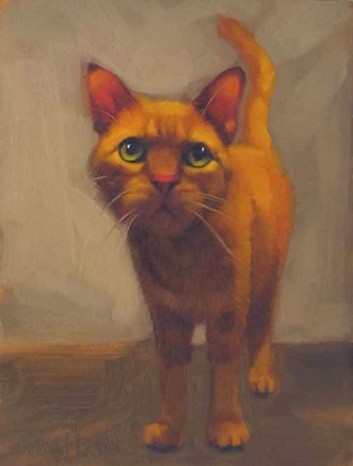 """Mavis the orange cat, an original oil painting"" original fine art by Diane Hoeptner"
