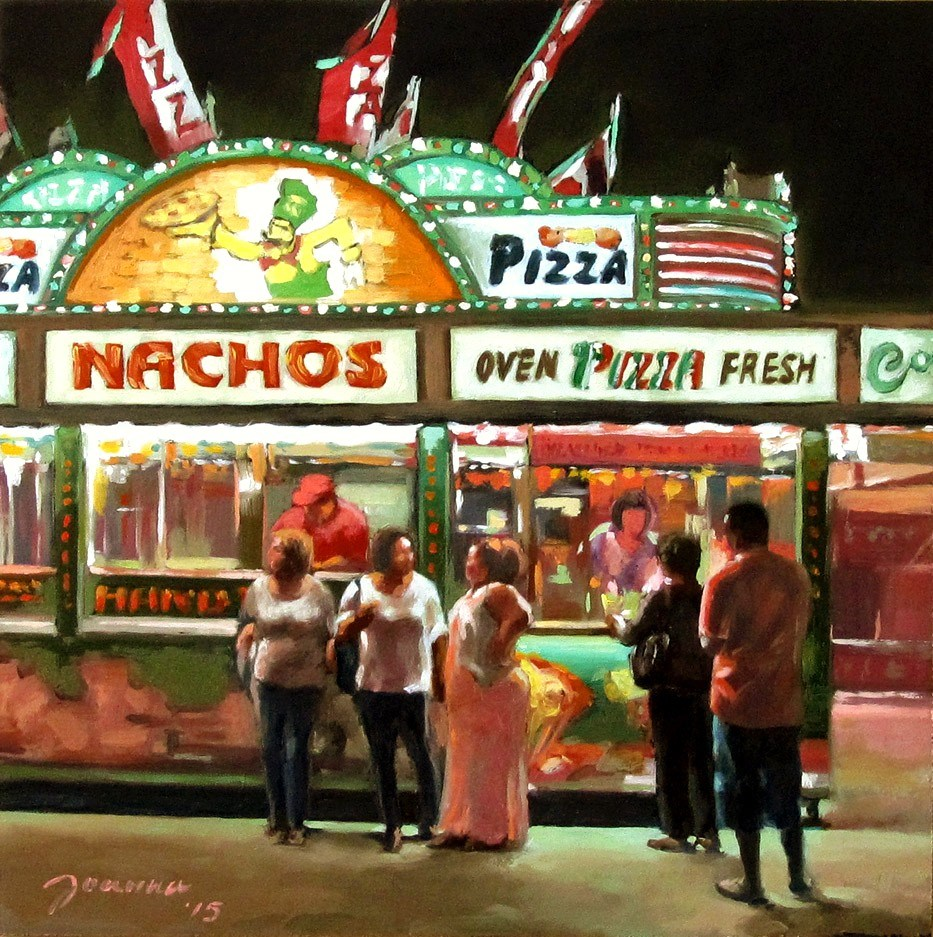 """Tough Decision--Series Painting of Fair Food Booth"" original fine art by Joanna Bingham"