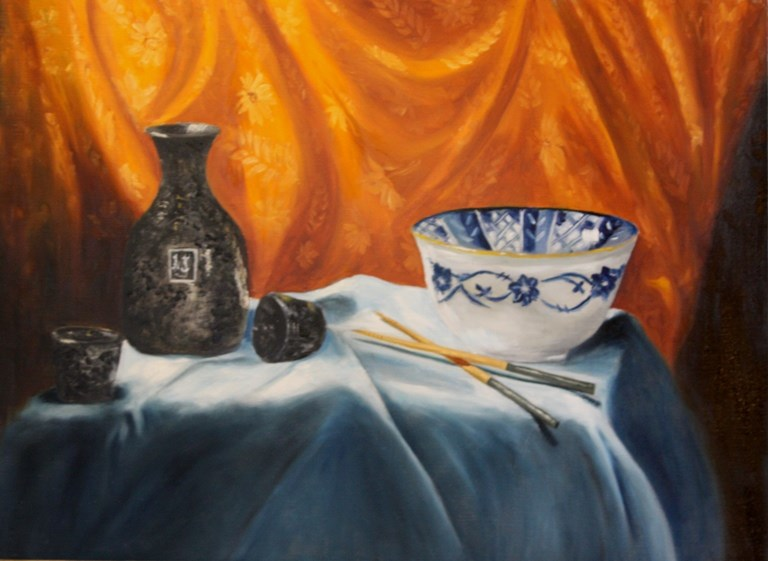"""Orange Silk and Sake"" original fine art by Mary Datum"