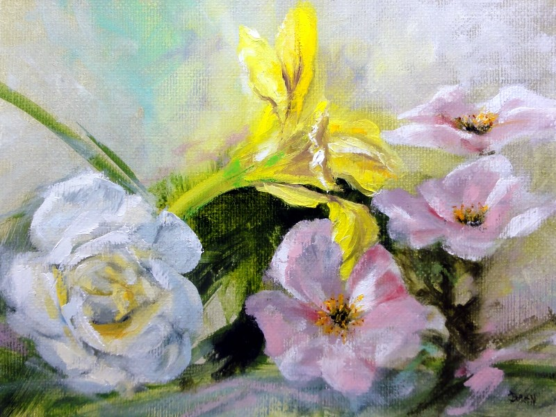 """Daylily With White And Pink Roses"" original fine art by Dalan Wells"