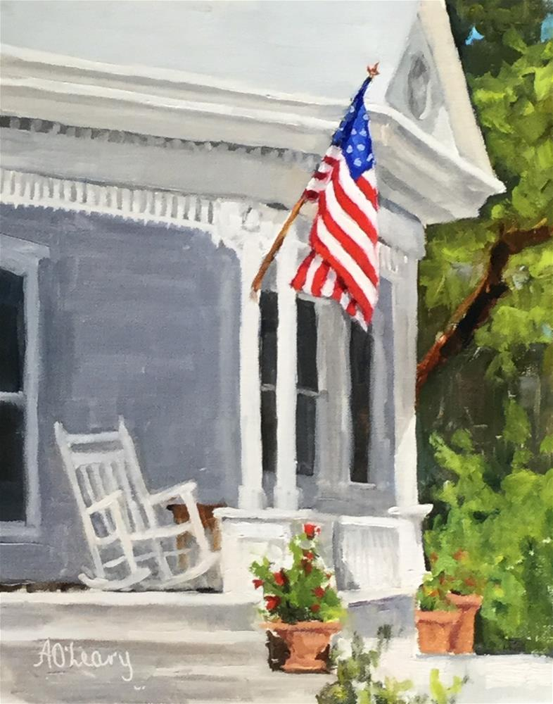 """Patriotic Porch"" original fine art by Alice O'Leary"