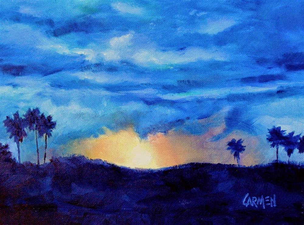 """Sky Drama, 8x6 Oil on Canvas Panel, Sunrise Landscape"" original fine art by Carmen Beecher"