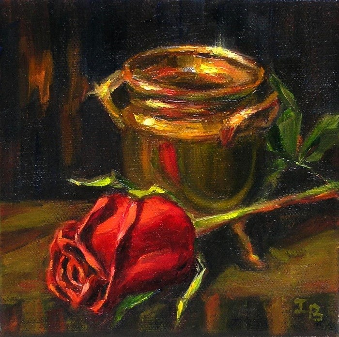 """Red Rose and  Brass Pot"" original fine art by Irina Beskina"