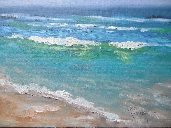 """Small Seascape, Daily Painting,, Small Oil Painting, Favorite Beach, 6x8 Oil"" original fine art by Carol Schiff"