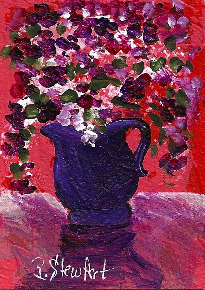 """ACEO Purple & Red Flowers in a Pitcher, Acrylic, Original Art, OOAK"" original fine art by Penny Lee StewArt"