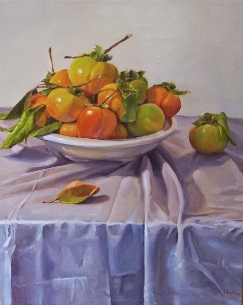 """Persimmon Plenty"" original fine art by Sarah Sedwick"