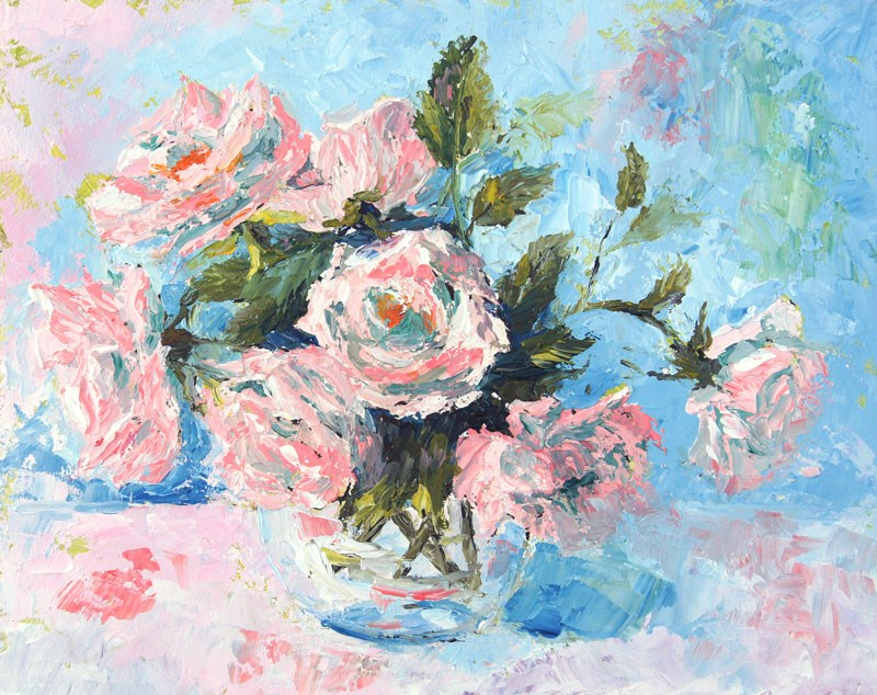 """Sweet Memories Roses still life palette knife painting"" original fine art by Marion Hedger"