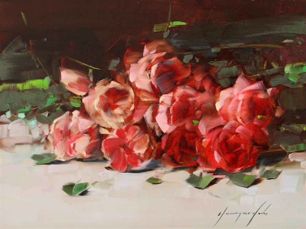"""ROSES ORIGINAL OIL PAINTING"" original fine art by V Yeremyan"