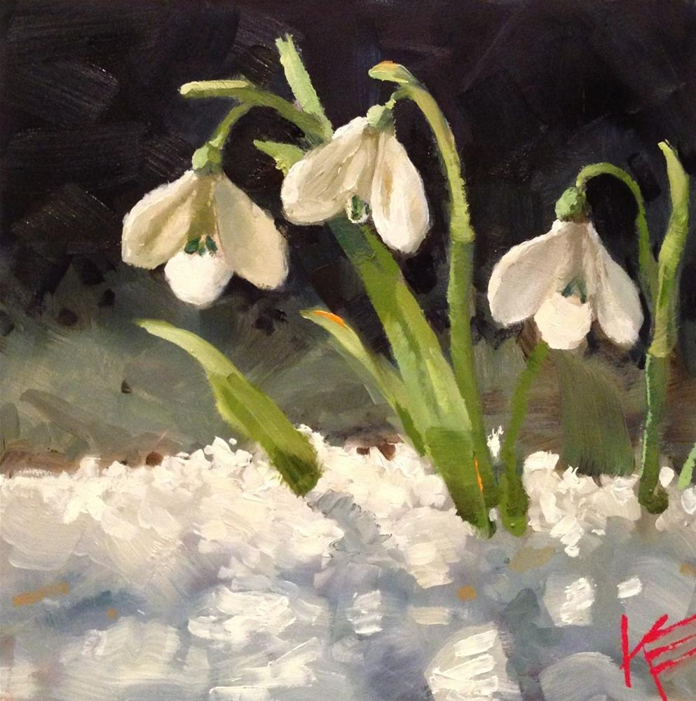 """Snow Drops"" original fine art by Krista Eaton"
