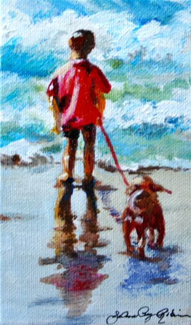 """A Boy and His Dog"" original fine art by JoAnne Perez Robinson"